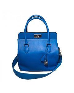Hermes 26cm Hydra Blue Swift Calf Leather Toolbox Bag