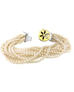 18k Gold Enamel Cultured Pearl Bracelet