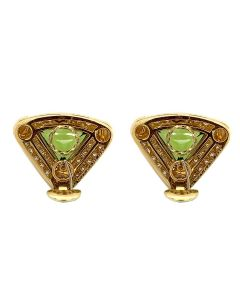 Bvlgari 18k Yellow Gold Peridot Pearl Diamond Ear Clips