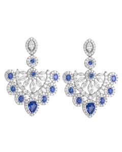 18K White Gold 6.05ct Diamond and Sapphire Chandelier Earrings