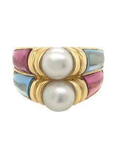 Bvlgari 18k Yellow Gold Touramline & Aquamarine Cultured  Pearl Ring