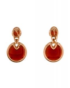 14K CARNELIAN & DIAMOND DROP EARRINGS