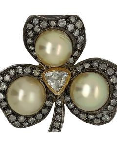 Silver & Gold Rose Cut Diamond With Cultured Pearl Brooch