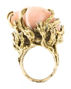 14K CORAL & DIAMOND ROSE COCKTAIL RING