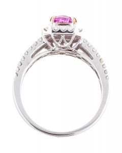 14K DIAMOND & PINK SAPPHIRE COCKTAIL RING