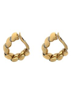 Bvlgari Tubogas Two- Toned (Yellow & White) 18K Gold Huggie Clip- On Earrings