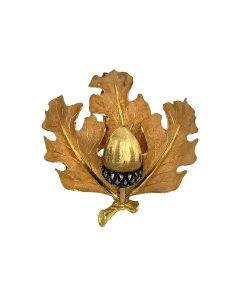 Mario Buccellati 18k Yellow Gold Acorn Leaf Brooch