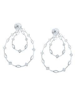 18K White Gold Round and Marquise Diamond Earrings