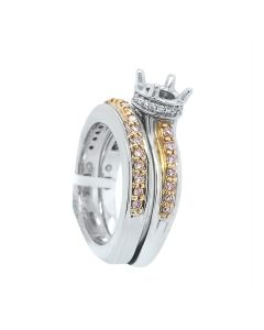 A. Jaffe 18k Two-Tone Gold 0.61ct Round cut Natural Fancy Pink & White Diamond Semi-Mount Ring and Band